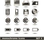 Los iconos monocromáticos fijaron 5 Fotografía de archivo libre de regalías