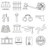 Los iconos negros del esquema de la justicia y de la ley fijaron eps10 Imagen de archivo