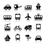 El transporte, iconos del viaje fijados isoalted en blanco Fotografía de archivo