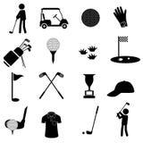 Los iconos negros simples del deporte del golf fijaron eps10 Imagen de archivo libre de regalías