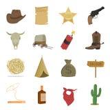 Los 16 iconos occidentales del vector fijaron en estilo de la historieta stock de ilustración