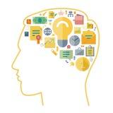 Los iconos para el negocio arreglaron en forma del cerebro humano Foto de archivo libre de regalías
