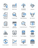 Los iconos personales y del negocio de las finanzas fijaron 1 - serie azul Foto de archivo