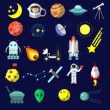 Los iconos planos con el fondo oscuro sobre el equipo del espacio vector el ejemplo Colección colorida de las etiquetas engomadas Fotos de archivo libres de regalías
