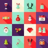 Los iconos planos cuadrados de la Navidad fijaron 2 Fotografía de archivo libre de regalías