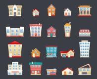 Los iconos planos de la calle retra de moda moderna de la casa fijaron el ejemplo del vector stock de ilustración