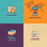 Los iconos planos de la educación, discurso burbujean icono, icono de la pila de libro Foto de archivo