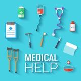 Los iconos planos de la medicina fijaron concepto Vector Fotos de archivo libres de regalías