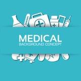 Los iconos planos de la medicina fijaron concepto Vector Fotografía de archivo libre de regalías