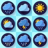 Los iconos planos de la meteorología del tiempo del color del vector fijaron con la sombra larga ilustración del vector