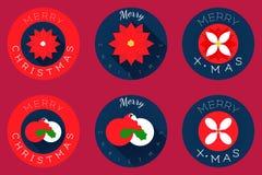 Los iconos planos de la Navidad diseñan, las esferas y poinsetia Fotos de archivo