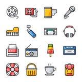 Los iconos planos de Ui embalan stock de ilustración