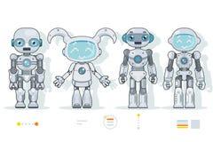 Los iconos planos del diseño del robot de los caracteres de la inteligencia artificial del interfaz androide futurista de la info ilustración del vector