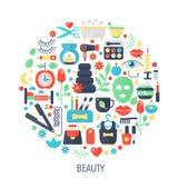Los iconos planos del infographics de los cosméticos de la belleza en círculo - coloree el ejemplo del concepto para la cubierta  Fotografía de archivo