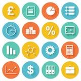 Los iconos planos del negocio fijaron para el web y el móvil Imágenes de archivo libres de regalías