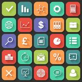 Los iconos planos del negocio fijaron para el web y el móvil. Vector Fotos de archivo libres de regalías