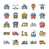 Los iconos planos del transporte embalan ilustración del vector