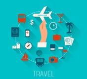 Los iconos planos del vector del diseño fijaron de vacaciones y de viaje Imágenes de archivo libres de regalías