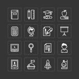 Los iconos planos del vector fijaron de concepto del esquema de las herramientas de la escuela de la educación Fotografía de archivo libre de regalías