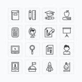 Los iconos planos del vector fijaron de concepto del esquema de las herramientas de la escuela de la educación Imágenes de archivo libres de regalías