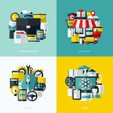 Los iconos planos del vector fijaron de los servicios financieros, comercio electrónico, inicio Foto de archivo libre de regalías
