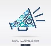 Los iconos planos en un altavoz forman, márketing digital, medio social, red, concepto del ordenador stock de ilustración