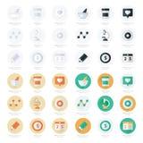Los iconos planos fijaron de herramientas y de sistema médicos de la atención sanitaria foto de archivo