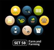 Los iconos planos fijaron 58 - granja y cultivo Imagenes de archivo
