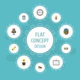 Los iconos planos Highlighter, Pen Holder, calculan y otros elementos del vector El sistema de símbolos planos de los iconos de l ilustración del vector