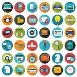 Los iconos planos modernos vector la colección con efecto de sombra largo en colores elegantes de los objetos del diseño web, neg Fotografía de archivo libre de regalías
