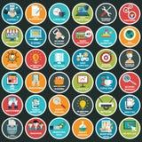 Los iconos planos modernos vector la colección con efecto de sombra largo en colores elegantes de los objetos del diseño web, neg Fotos de archivo libres de regalías