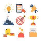 Los iconos planos modernos vector la colección, objetos del diseño web, negocio, la oficina y artículos del márketing Imagenes de archivo