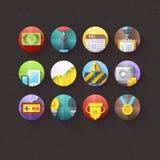 Los iconos planos para el móvil y las aplicaciones web fijaron 2 stock de ilustración