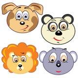 Iconos principales animales de la historieta linda Imágenes de archivo libres de regalías