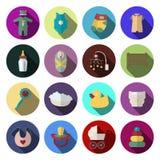 Los iconos recién nacidos del bebé fijaron en estilo plano del diseño Fotos de archivo libres de regalías