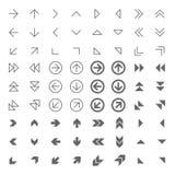 Los iconos relacionados flecha del web fijaron gris en blanco ilustración del vector