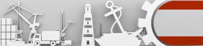 Los iconos relativos del puerto del cargo fijaron con la bandera de Amberes Fotografía de archivo