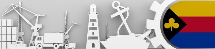 Los iconos relativos del puerto del cargo fijaron con la bandera de Delfzijl Fotos de archivo libres de regalías