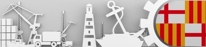 Los iconos relativos del puerto del cargo fijaron con la bandera de Gran Bretaña Foto de archivo libre de regalías