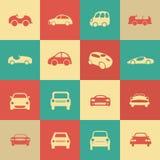 Los iconos retros de los coches fijaron diversas formas del coche. Imagen de archivo libre de regalías