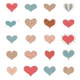 Los iconos retros de los garabatos de los corazones románticos del amor del bosquejo fijaron a Valentine Day Vector Illustration Foto de archivo