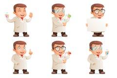 Los iconos retros del tubo de ensayo de Young Cute del científico 3d fijaron el ejemplo del vector del carácter del diseño de la  Imagenes de archivo