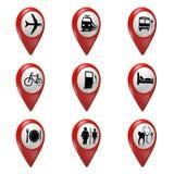 los iconos rojos del indicador del mapa 3D fijaron para el transporte, los hoteles, la comida, y los servicios Fotografía de archivo libre de regalías