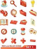 Los iconos rojos y azules fijaron 1 Imagenes de archivo