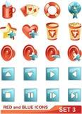 Los iconos rojos y azules fijaron 3 Fotografía de archivo