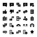 Los iconos sólidos emocionales de la opinión y de la lista de control embalan libre illustration