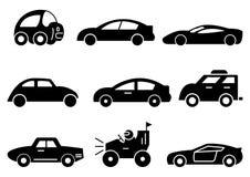 Los iconos sólidos ennegrecen la vista lateral del coche fijada ilustración del vector