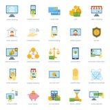 Los iconos seguros de las actividades bancarias de la tarjeta de las finanzas fijaron vector del pago al contado del crédito Imagenes de archivo
