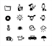 Los iconos simples blancos y negros contienen la colección Imagen de archivo libre de regalías
