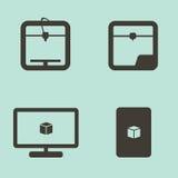 Los iconos simples de la impresión 3D fijaron en grises en un azul Imagenes de archivo